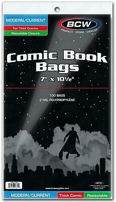 Resealable Modern/Current Thick Comic Book Bags, 100 Bags - 18 x 27cm - BCW Free