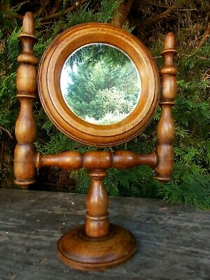 Rustic Little Antique French Mirror With Turned Wooden Stand~Shaving~Make Up