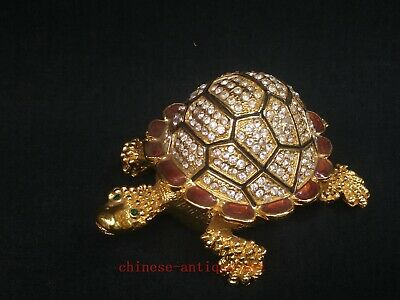 Collected China Cloisonne Mosaic Carving Turtle Beautiful Jewelry Storage Box