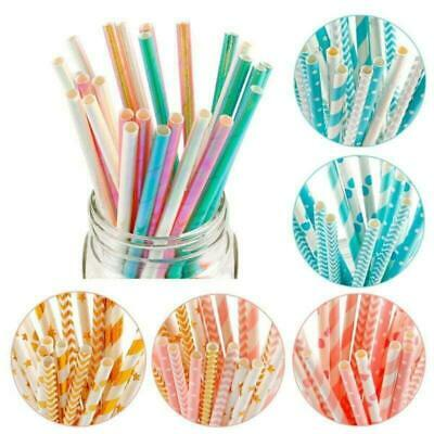 Colorful Reusable Hard Plastic Stripe Drinking Straw Wedding Hot Clean Part Z9H5