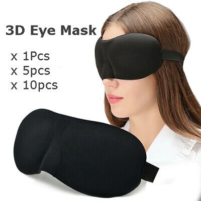 Black 3d Soft Padded Blindfold Blackout Eye Mask Travel Rest Sleep Shade Cover