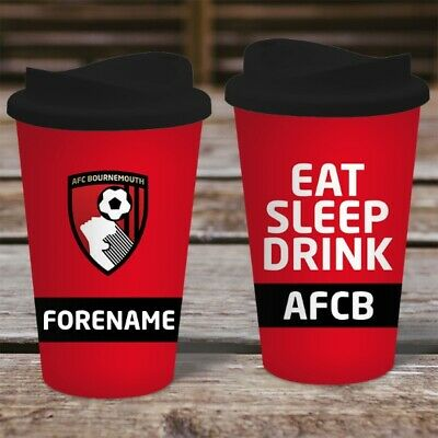 Personalised AFC Bournemouth Travel Mug - Insulated Plastic Thermos Flask Cup