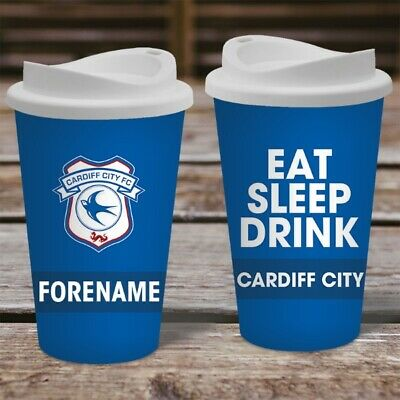 Personalised Cardiff City FC Travel Mug - Insulated Plastic Thermos Flask Cup