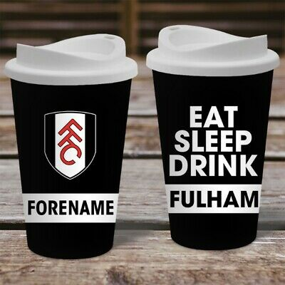 Personalised Fulham FC Travel Mug - Insulated Plastic Thermos Flask Cup