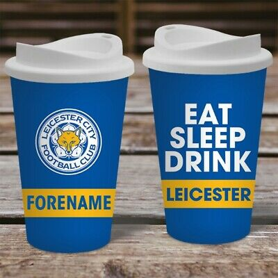 Personalised Name Leicester City LCFC Travel Mug - Insulated Coffee Flask Cup