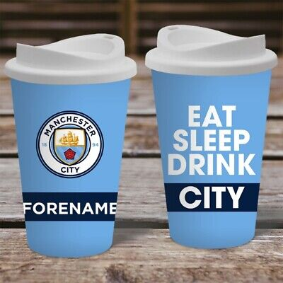 Personalised Manchester City Travel Mug - Insulated Thermos Flask Cup MCFC Gift
