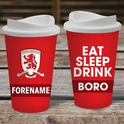 Personalised Middlesbrough FC  Travel Mug - Insulated Boro Coffee Flask Cup Gift