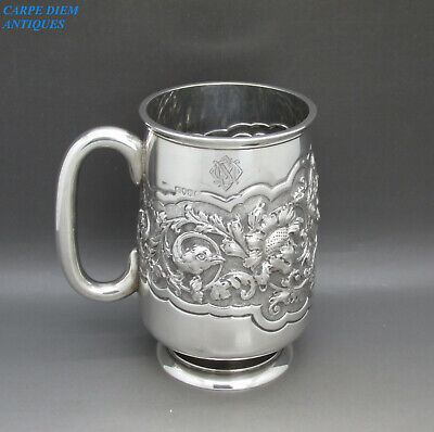 ANTIQUE VICTORIAN STUNNING EMBOSSED SOLID STERLING SILVER PINT TANKARD 282g 1886