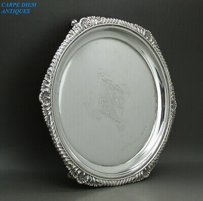 ANTIQUE VICTORIAN GOOD HEAVY SOLID STERLING SILVER SALVER TRAY 361g 22.3CM 1894