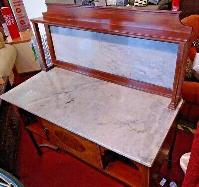 Victorian Style Mahogany Veneer Dark Wood Marble Resin Top Washstand - CSC72