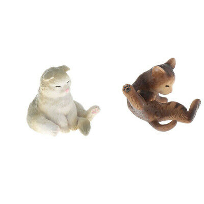 Mini Cat Pet Statue Ornament Miniature Figurine Resin Toy for 1/12 Dollhouse