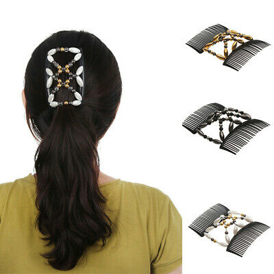 Magic Hair Double Tool Styling Elastic Clip Beaded Comb Hairpin