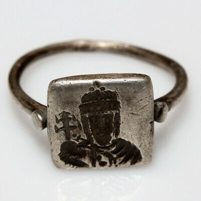 Stunning Byzantine Empire Silver Seal Ring King Bust Depiction Circa 700-900 Ad