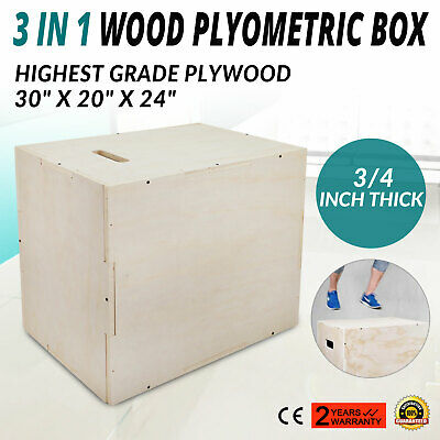 3 in 1 Wood Plyometric Box for Jump 30/24/20 Plyo Exercise 3/4 Thick Strength