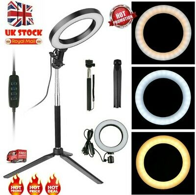 6 Inch LED Ring Light With Stand and Phone Holder Make-up for Camera iPhone Lamp
