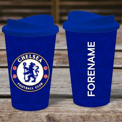 Personalised Chelsea FC  Travel Mug - Insulated Thermos Flask Cup CFC Gift