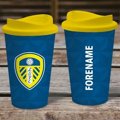 Personalised Leeds United FC  Travel Mug - Insulated Plastic Thermos Flask Cup