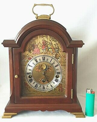 Christiaan Huygens Mantel Clock Westminster Quarter Chimes Moon Dial Key Wind