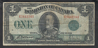 1923 Dominion Of Canada 1 Dollar Bank Note Green Seal