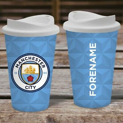 Personalised Name Manchester City MCFC Travel Mug - Insulated Coffee Flask Cup