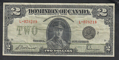 1923 Dominion Of Canada 2 Dollar Bank Note Mccavour Black Seal