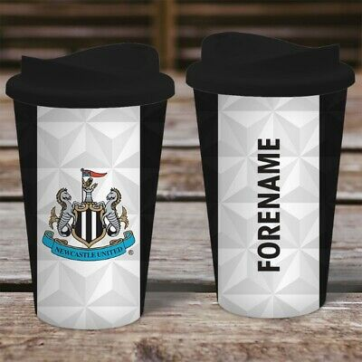 Personalised Newcastle Utd Travel Mug - Insulated Plastic Thermos Flask Cup