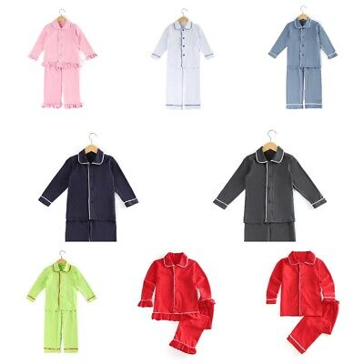 Cotton Toddler Unisex Family Matching Children Christmas Solid Color Kids Pajama
