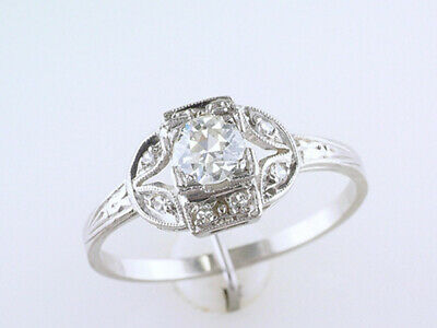 Vintage Diamond Engagement Ring .40ct Old Euro Platinum Antique Art Deco