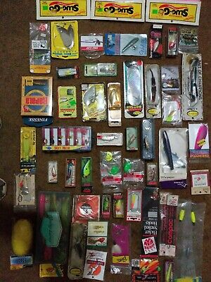VINTAGE Huge Mixed Lure Lot Of 50 All New Fishing Lures,  Rapala, Hedon,LOOK