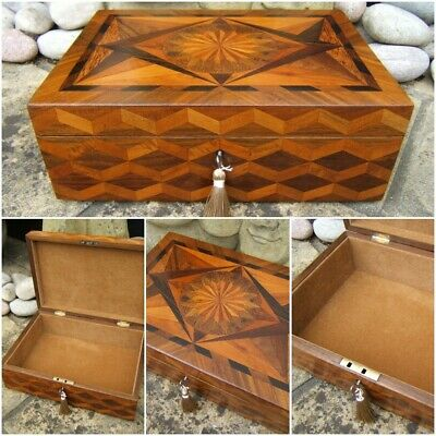 Terrific Rare 19C Antique French Inlaid Document/Jewellery Box - Fab Interior