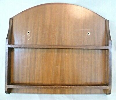 Vintage Treen - 33x30cm Stained Wooden Small Wall Plate Display Rack / Stand