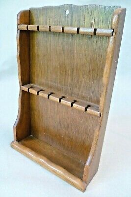 Vintage Treen - 30x20cm Stained Wooden Spoon / Cutlery Wall Display Rack / Stand