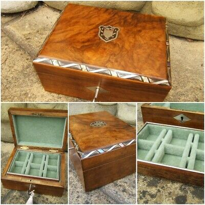 Superb 19C French Olivewood Inlaid Antique Jewellery Box - Fab Interior