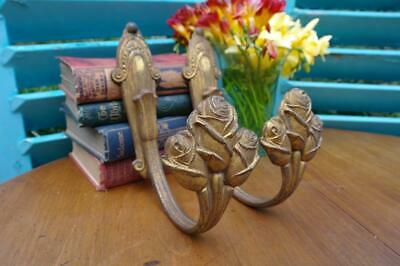 Antique French Art Nouveau Gilt Bronze Curtain Tie Backs 19thC. Chateau Salvage