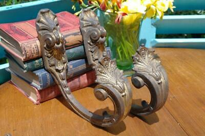 Large Antique French Empire Gilt Bronze Curtain Tie Backs 19thC Chateau Salvaged