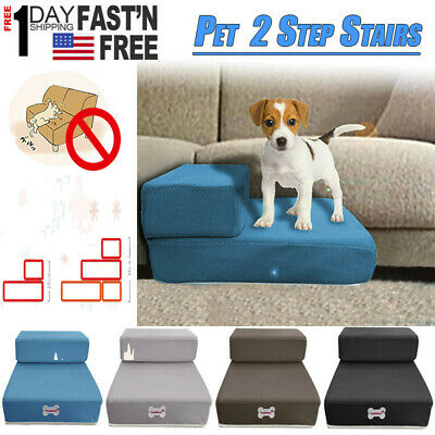 Petstbuyi Combinable Pet Stairs Dog Cat 2 Steps Stairs Safe Ramp Foam Couch