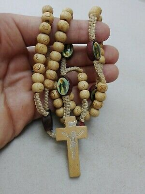 Rosary Necklace Olive Crucifix Wood Beads Cross Catholic Jerusalem Soil Holy
