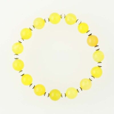 New Chunky Bead Bracelet Yellow Agate Clear Crystal Stretch Band Sterling Silver