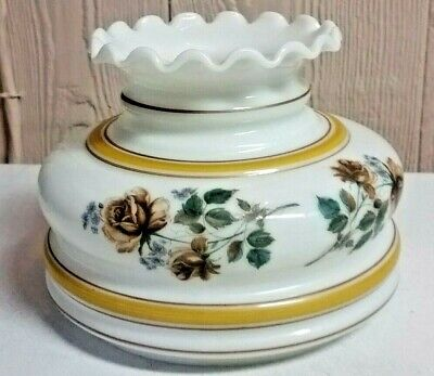 """Vintage Milk Glass Painted Floral Fluted Ruffled Lamp Replacement Shade 7.5"""""""