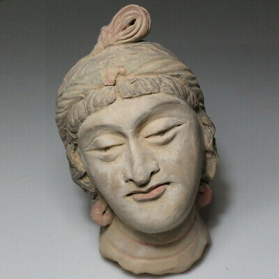 SCARCE-GANDHARA STUCCO FEMALE HEAD FRAGMENT TERRACOTTA 200-300AD-1282 grams
