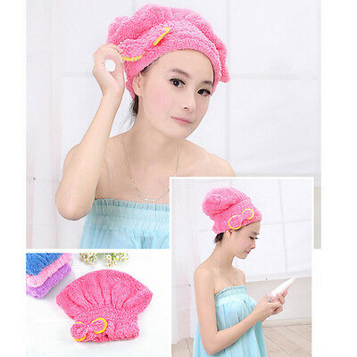 1x Magic Dry Hair Cap Shower Cap Super Absorbent Microfiber Hair Wrap Towel  AS