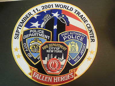 """Large 5"""" Patch Fallen Heroes 9-11 Fire Police Dept. NEW Twin Towers Embroidered"""