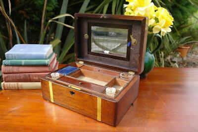 Antique Victorian Campaign Mahogany Fitted Travel Box Brass Bands 19thC Colonial