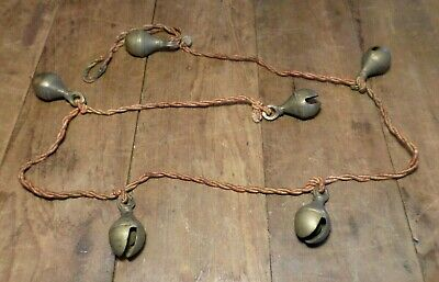 Antique Bells Of Sarna 20mm Tibetan brass bells on rope hanging door bells