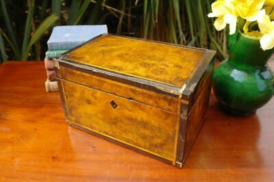 Antique Victorian Burr Walnut & Inlay Storage Box c.1840's Stunning! Rustic Chic