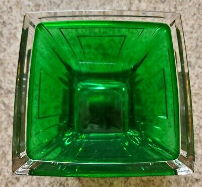 Emerald Green Art Deco Style /Czech Crystal Small Dish