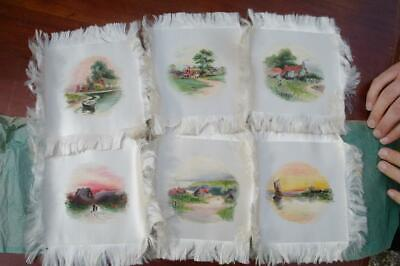 Antique Victorian Hand Painted Silk Miniatures British Country Scenes, Stunning!