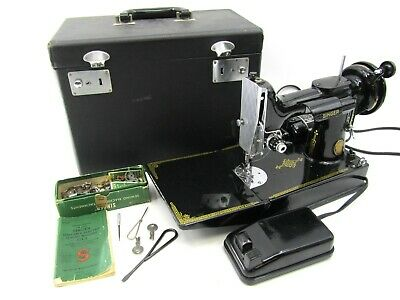 Vintage Singer 221 Centennial Featherweight Sewing Machine In Case