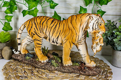 "14.25""L Large Realistic Wildlife Bengal Orange Tiger Mother Carrying Cub Statue"