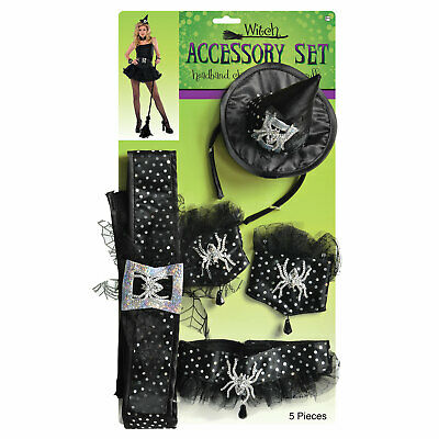 Adults Witch Accessory Dress-Up Kit Ladies Halloween Fancy Dress  Accessory
